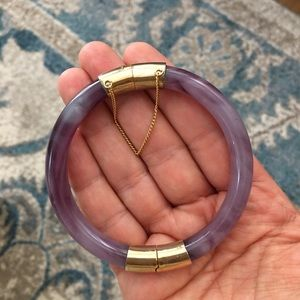 Vintage purple Peking glass gold plated bangle